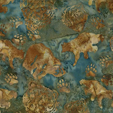 Brown bears and paw images on teal (blue-green) by Hoffman Fabrics