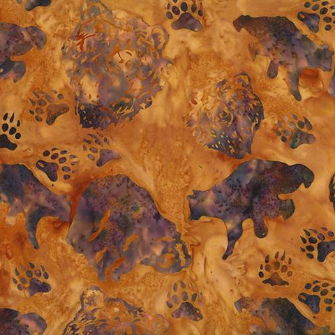 violet bears and paw images on gold background by Hoffman Fabrics