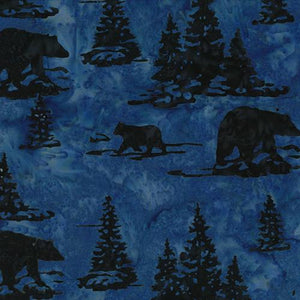 Navy blue bears and pine trees  images on blue background by Hoffman Fabrics