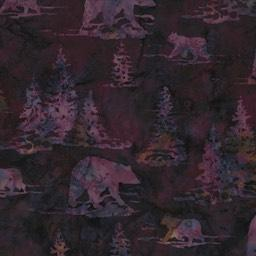 Violet bears and pine trees  images on violet purple background by Hoffman Fabrics