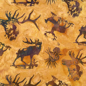 Elk and pinecones on a tan background