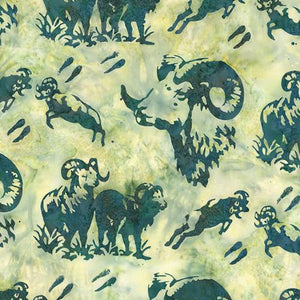Dahl big horned sheep images on green background by Hoffman Fabrics