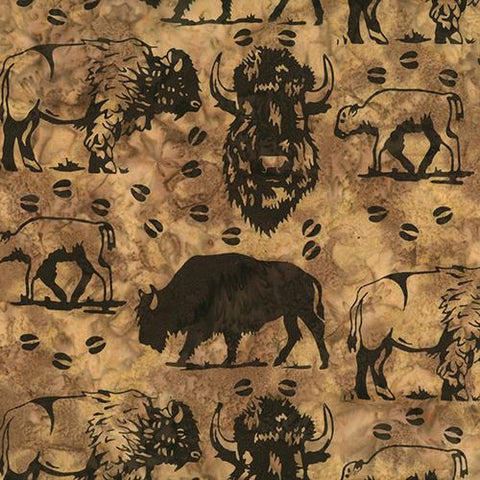 Buffalo images on brown background by Hoffman Fabrics