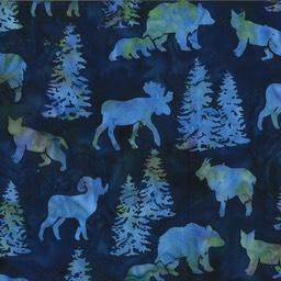 big horn sheep, moose, bears and mountains lions on a blue background