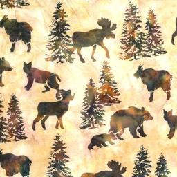 big horn sheep, moose, bears and mountains lions on a cream background