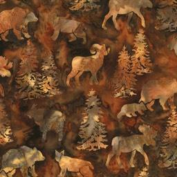 big horn sheep, moose, bears and mountains lions on a brown background