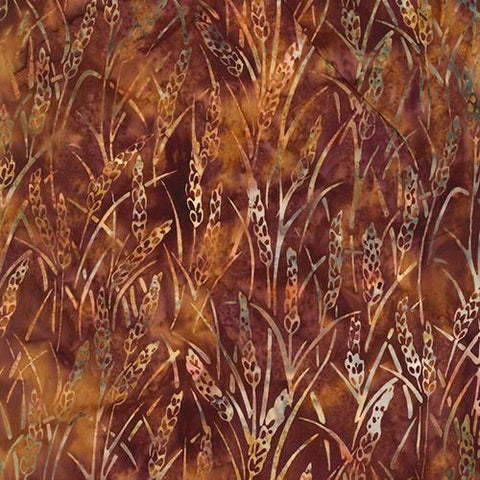 Images of wheat on brown background by Hoffman Fabrics
