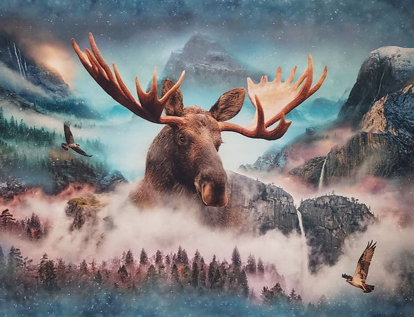 Call of the Wild Moose Digital Print Fabric Panel