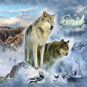 Two wolves blended with evergreen trees and mountain images