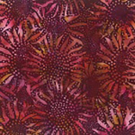 Bali Burgundy Red Sunflowers Hoffman Batik Cotton Fabric available at Colorado Creations Quilting