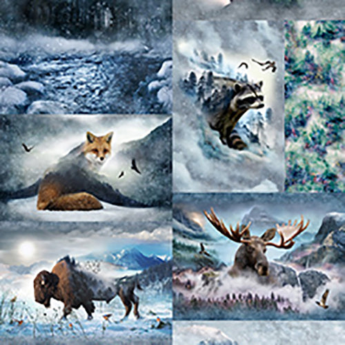 Hoffman Fabrics panel of 10 motifs of their best images such as bear, elk, moose, bison, fox, wolves and raccoon.  Available at Colorado Creations Quilting