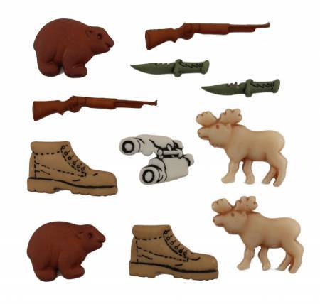 Image of 11 hunting novelty buttons such as fish, reels, hooks and a gone fishing sign. Available at Colorado Creations Quilting