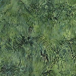 This deep green tonal fabric features blades of grass images by Island Batiks. Available at Colorado Creations Quilting