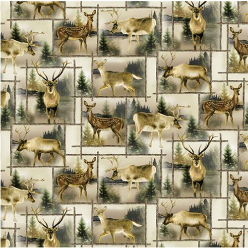 This 100% cotton fabric features deer in their natural habitat each surronded by a frame of wooden logs. Colors are shades of tan and green for the trees.