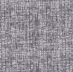 Gray geometric cotton fabric reminds one of window screens with a splash of metallic silver