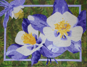 Colorful Columbines fabric quilt kit by Colorado Creations Quilting