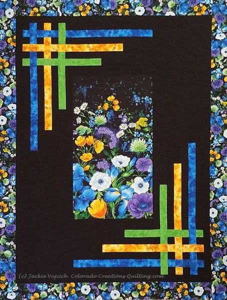 Daydream Blossoms display of all landscape fabrics needed for the quilt pattern available at Colorado Creations Quilting