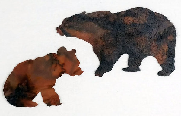 laser cut mom and baby brown bears