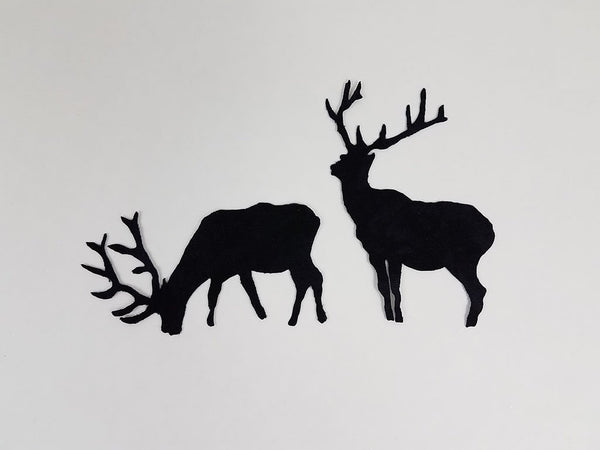 laser cut paif of elk on black fabric available at Colorado Creations Quilting