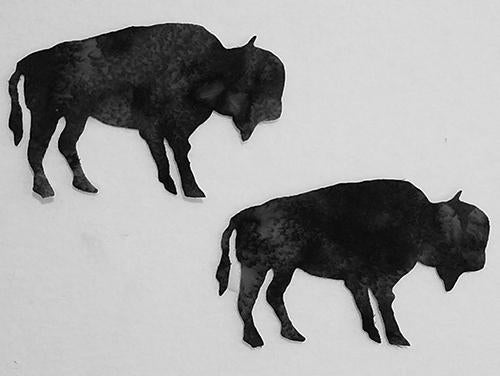 laser cut paif of bison on black fabric available at Colorado Creations Quilting