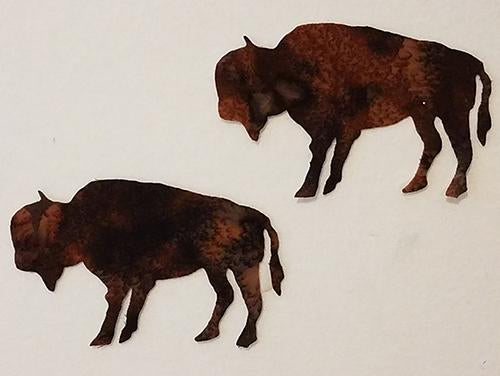 laser cut pair of bison (buffalo) on brown batik fabric available at Colorado Creations Quilting