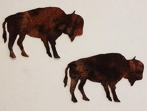 laser cut paif of bison on brown fabric available at Colorado Creations Quilting
