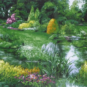 Park with lake, wildflowers and trees cotton fabric available at Colorado Creations Quilting