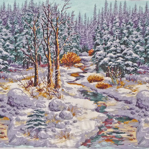 Snowy woods with river and snow covered trees available at Colorado Creations Quilting