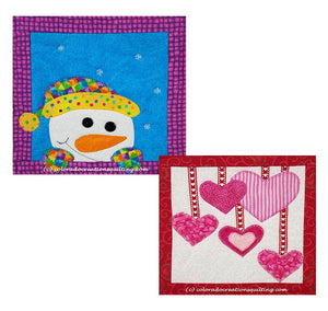 Appliqued snowman or hearts on a sqare of fabric