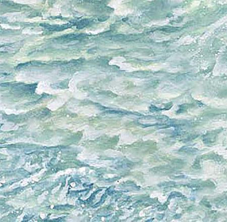 This cotton fabric features detailed aqua water with white-capped crashing waves . Available at Colorado Creations Quilting