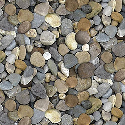 River rocks in shades of gray and brown cotton fabric available at Colorado Creations Quilting
