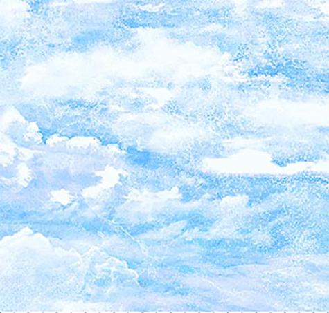 Bright blue sky with white clouds cotton fabric available at Colorado Creations Quilting