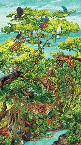 In this cotton fabric panel you can spot cheetahs and snakes lounging on tree branches; amphibians hiding in the foliage or monkeys swinging from the treesAvailable at Colorado Creations Quilting