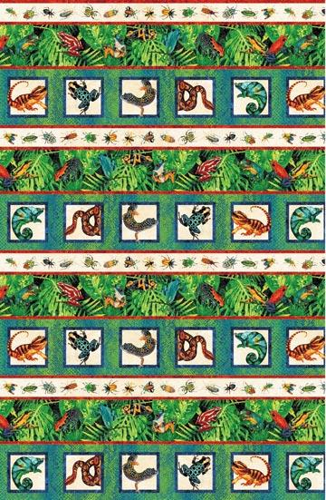 This striped fabric features brightly-colored amphibians such toads, lizzards and insects perched among banana leaves. Available at Colorado Creations Quilting