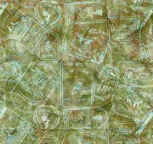 This cotton fabric in green features wine bottle labels available at Colorado Creations Quilting