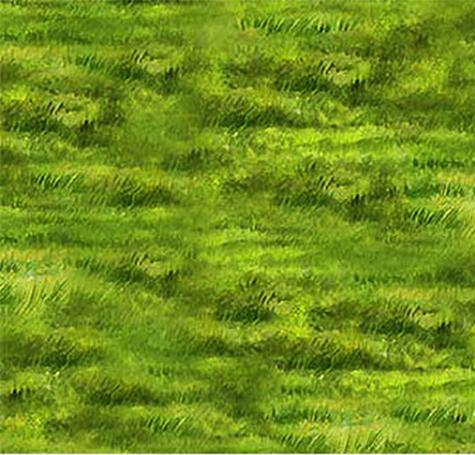 Green grass in the rich greens of summer cotton fabric by Northcott
