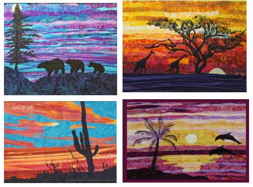 4 note cards with a different quilt-themed picture on each card.  Available at Colorado Creations Quilting