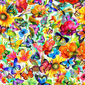 Brightly-colored flowers and butterflies on white background available at Colorado Creations Quilting