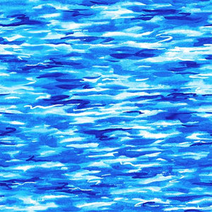 bright blue water with waves cotton fabric