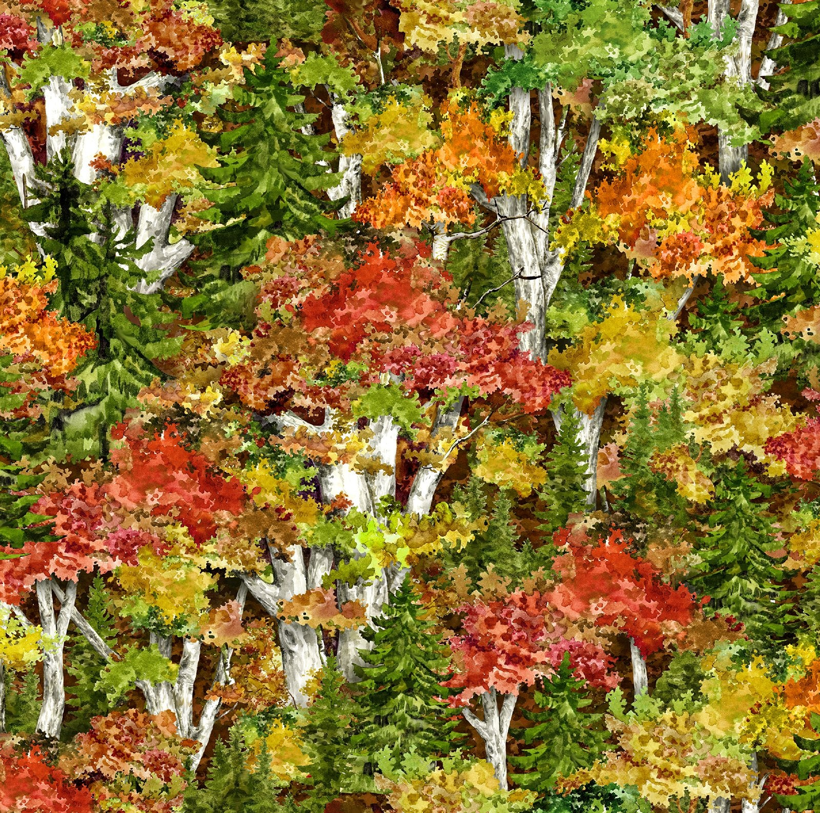 Rich autumn-colored trees in greens, reds, golds, and rusts cotton fabric by Oasis Fabrics and available at Colorado Creations Quilting