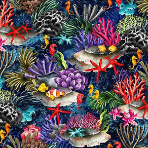This cotton fabric features brightly-colored images of tropical fish such as clown fish and seahorses as they swim in deep blue water among coral and seashells along the sea floor.  Available at Colorado Creations Quilting