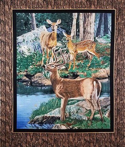 This panel features three deer taking a moment to enjoy the stream.