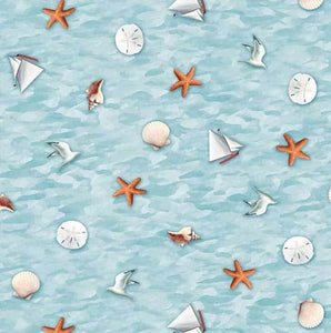 This cotton fabric features tiny images of seashells, seagulls and sailboatss are featured on a background of blue.  Available at Colorado Creations Quilting