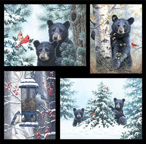 This fabric panel features darling bears peaking out from behind trees, some snow-covered, with red cardinals and blue jays to add extra delight. Available at Colorado Creations Quilting