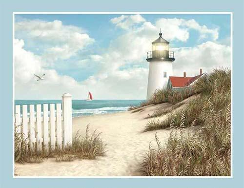 By the Peaceful Shore fabric panel depicts a serene beach scene complete with a classic lighthouse. Available at Colorado Creations Quilting
