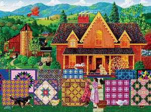 This jigsaw puzzle by SunsOut in Puzzles and Games has 1000 pieces and features awoman hanging quilts to dry in front of her gabled farm house.  Available at Colorado Creations Quilting