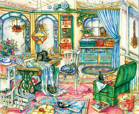 "This jigsaw puzzle by SunsOut in Puzzles and Games item #23419 has 1000 pieces and features an untidy room with an old treadle sewing machine, bolts of fabric and quilting notions in baskets and trunks. Finished size 23"" x 28"""