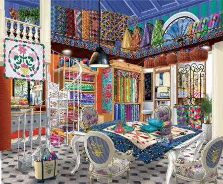 "This jigsaw puzzle by SunsOut in Puzzles and Games item #31550 has 1000 pieces and features an room with a quilt-covered table surrounded by quilts and brightly-colored bolts of fabric. . Finished size 23"" x 28"""