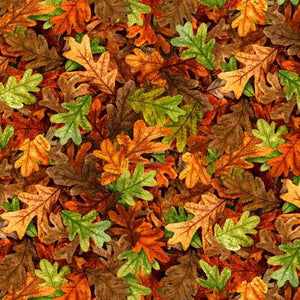 Packed Fall Leaves Rust Cotton Fabric by Quilting Treasures