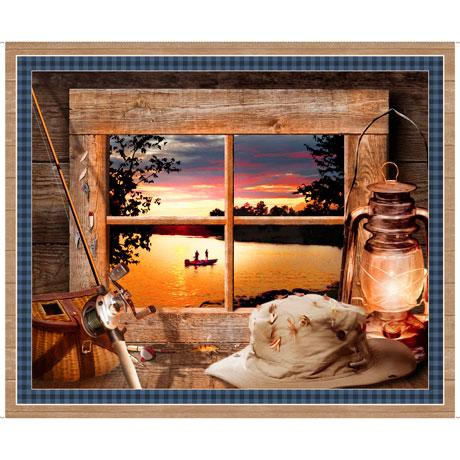 This scenic view from a wood-framed window depicts of two fishermen in a canoe upon a golden-lit sunset lake. While inside the cabin attention to detail is given to the fishing gear of rod and reel and even the flies attached to the hat.